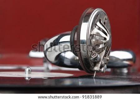 Vintage gramophone with a vinyl