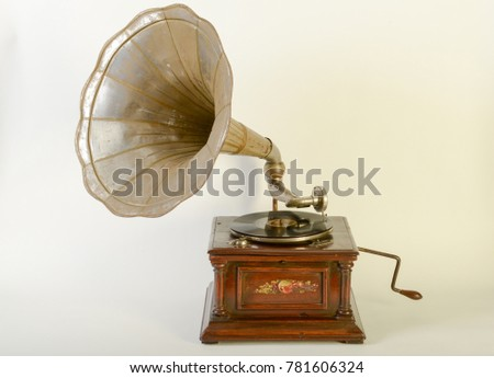 Vintage gramophone with horn speaker isolated on white #781606324