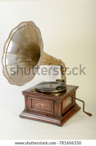 Vintage gramophone with horn speaker isolated on white #781606330