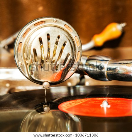 Vintage gramphone playing vynil music disck Stock fotó ©