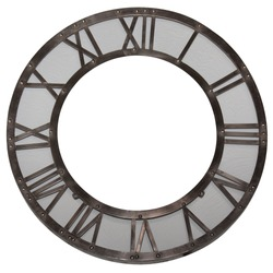 Vintage gray metal round wall clock with roman numbers. Vintage gray metal round wall picture frame with roman numbers.Isolated on white background.
