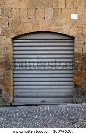 vintage gray roll up door