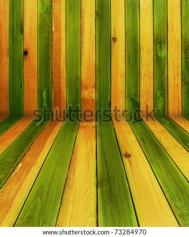 vintage green and yellow wooden background