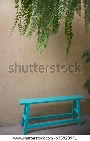 vintage green bench and hanging ...