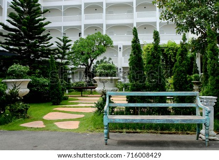vintage green bench at the...