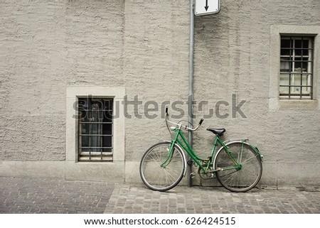 vintage green bicycle parking...