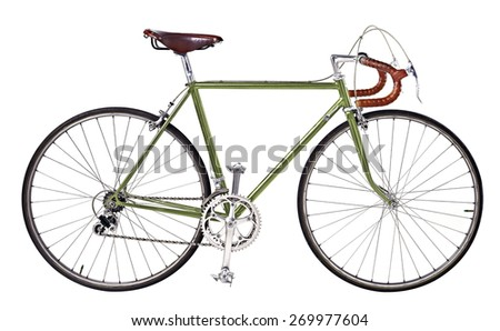 Vintage green,bronze bicycle,green Vintage race road bike,bicycle classic style,isolated white background #269977604