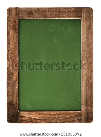 vintage green chalkboard with wooden frame isolated on white background. blackboard with place for your text