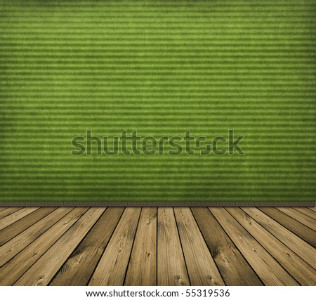 vintage green interior with wooden floor