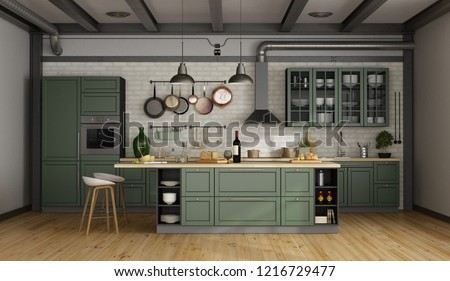 Vintage green kitchen with island in a loft - 3d rendering