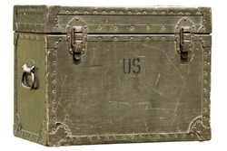vintage green military chest isolated on white