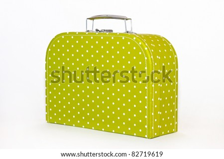 Vintage Green Polka Dot Lunch Box Isolated