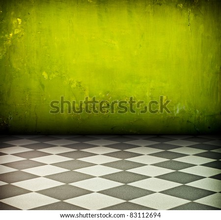 vintage green room with tiled black and white floor and artistic shadows added
