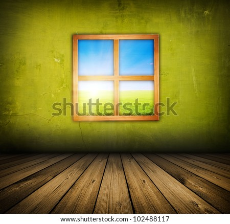 vintage green room with wooden floor and window with field and sky above it