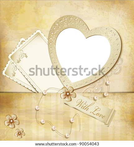 vintage, grunge background with frame for photos in the form of heart (JPEG version)
