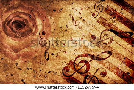 Vintage grunge background with rose and music notes.