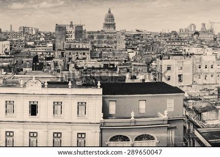 Vintage grunge monochromatic image of Old Havana