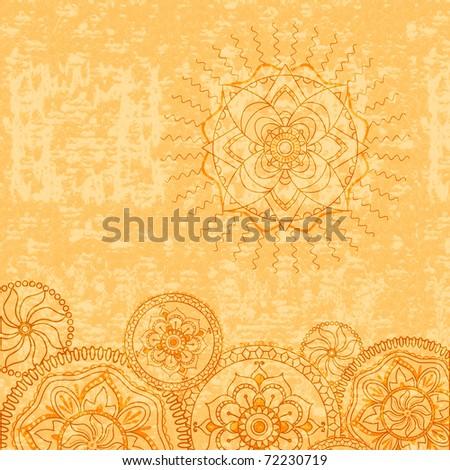 Vintage grunge ornamental background with stylized floral motifs