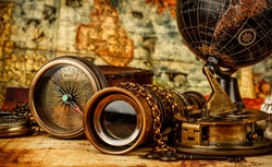 Vintage grunge still life. Vintage items on ancient map.