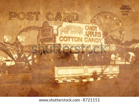 Vintage Grunge Style Postcard Background With Carnival