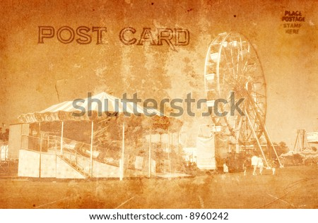Vintage Grunge Style Postcard Of Carnival Rides
