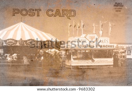 Vintage Grunge Style Postcard With Carnival