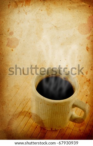 Vintage grungy paper with coffee cup and smoke.