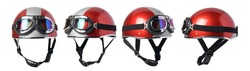 Vintage half motorcycle helmet with glasses, isolated with clipping path on white background.