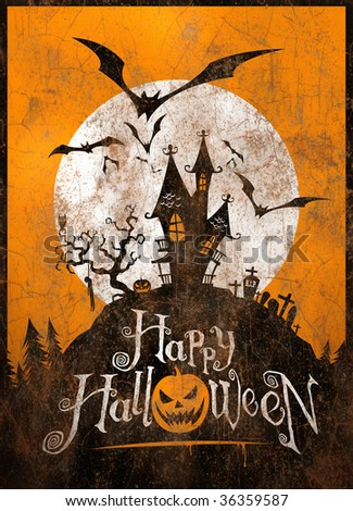 Vintage Halloween metal sign/poster. Illustration.