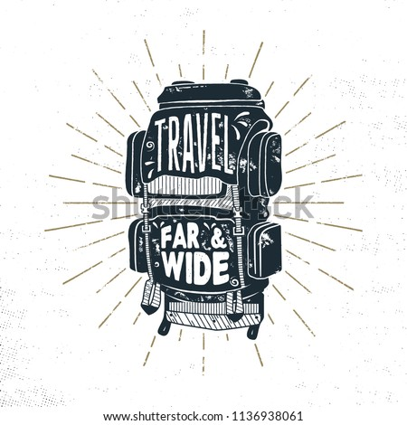 7bdfbd17d89d37 Vintage hand drawn camper backpack design with words - travel far and wide.  Retro silhouette