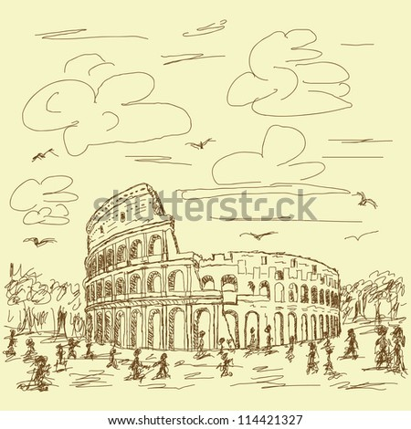 vintage hand drawn illustration of famous ancient tourist destination the colosseum of Rome Italy.
