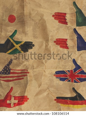 vintage hand flag Italy flag gesture of the hands of male abstract rusty colored background.
