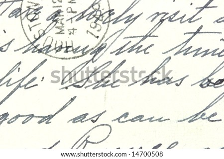 Vintage hand writing on a letter. Old yellowish paper with visible structure. Pen ink. Houston postmark from 1949.