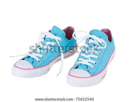Vintage hanging blue shoes on pure white background