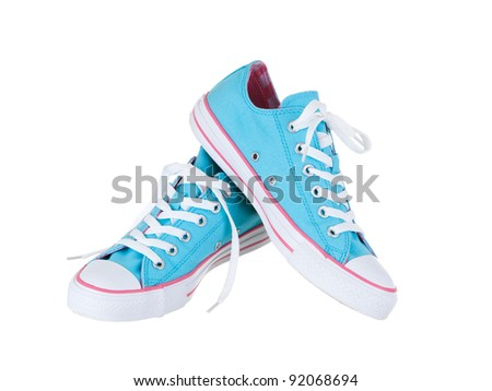 Vintage hanging blue shoes on pure white background #92068694
