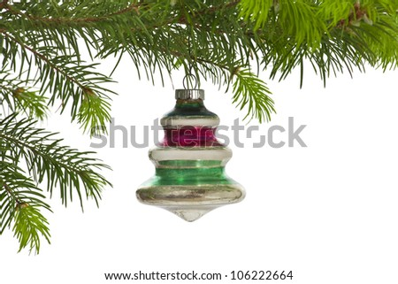 Vintage hanging Christmas tree ornament isolated on white.
