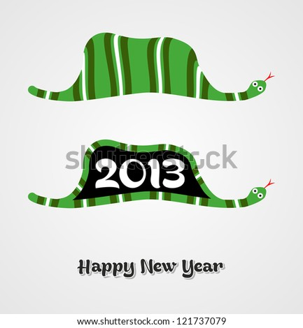 Vintage Happy New year 2013 concept number in snake shape.
