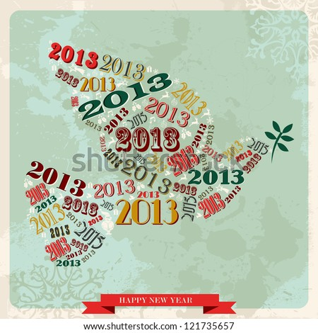 Vintage Happy New year 2013 concept numbers and xmas elements dove of peace. - stock photo