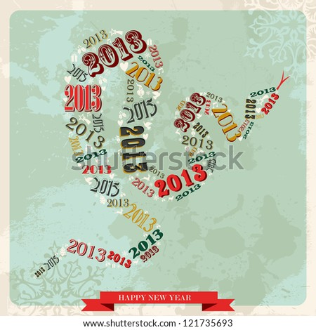 Vintage Happy New year 2013 concept numbers in snake shape.