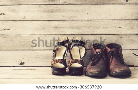 Vintage,High heels and Leather shoes #306537920