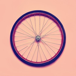 Vintage hipster photo bicycle wheel, abstract minimalism concept, top view