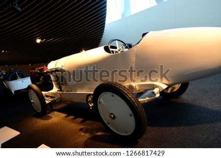 Vintage historic Mercedes cars associated with the brand are presented in the Mercedes-Benz museum in Stuttgart 08.2017 #1266817429