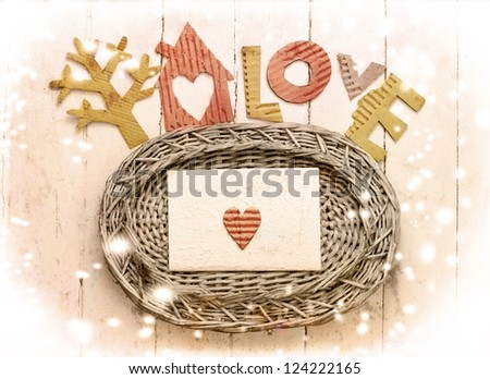 "Vintage holidays card with a  house and heart as a symbol of love/valentines day card with word ""love"""