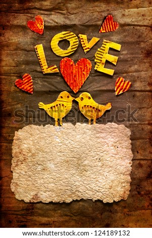 """Vintage holidays card with a two birds and heart as a symbol of love/valentines day card with word """"love"""" - stock photo"""