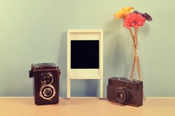 Vintage Home decor : Old Cameras, photo frame  and flower on a blue wall shelf
