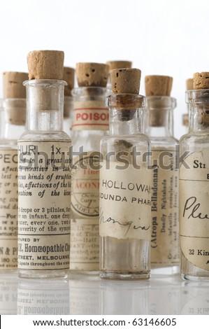 Vintage homeopathic medicine bottles over 100 Years old