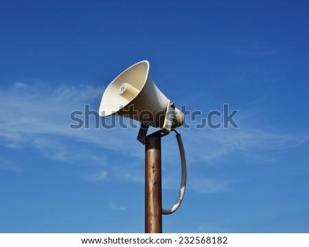 vintage horn speaker for public relations and bluesky background