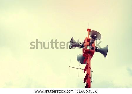 vintage horn speaker for public relations, vintage filter effect