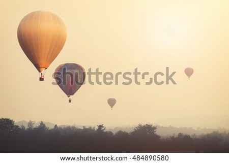 vintage hot air balloon flying...