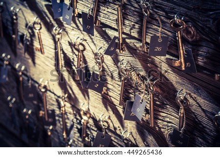 vintage hotel with keys for...